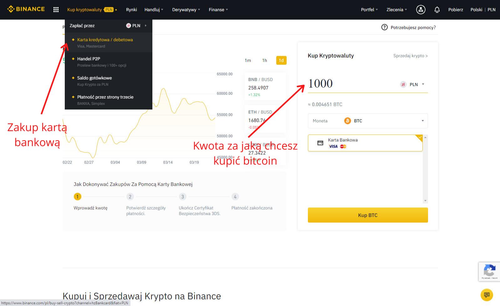 Instrukcja jak kupić bitcoin w Binance - krok 1