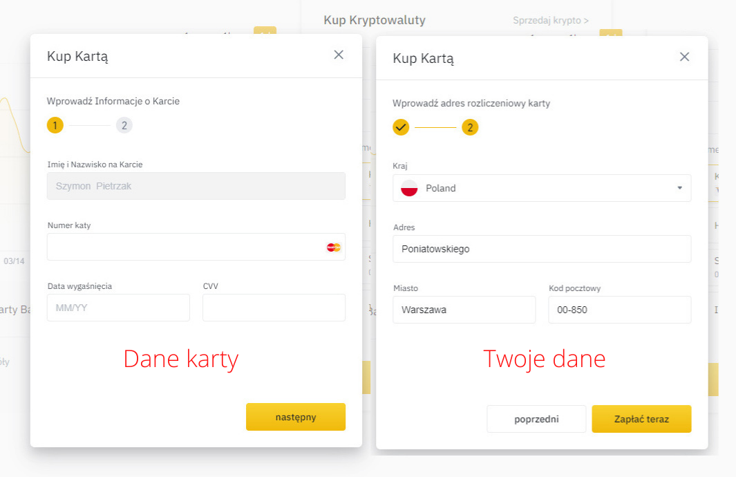 Instrukcja jak kupić bitcoin w Binance - krok 2