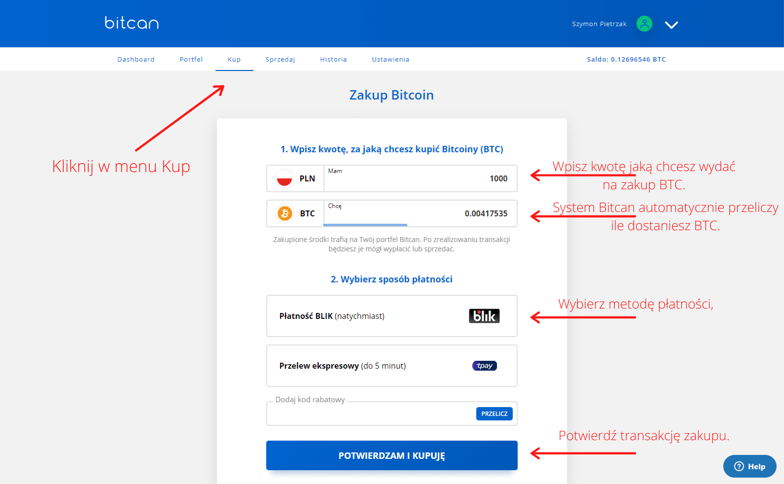 Zakup bitcoin w kantorze Bitcan