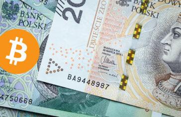 Banknoty PLN i bitcoin